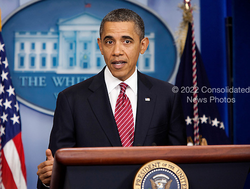 United States President Barack Obama makes a statement about rules requiring employers to provide contraceptions for employees in the briefing room of the White House in Washington, DC, on February 10 2012. The compromise is directed at the concerns of religious organizations, who claim providing contraceptions violates their religious beliefs.  .Credit: Joshua Roberts / Pool via CNP