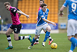 St Johnstone v Dundee&hellip;11.03.17     SPFL    McDiarmid Park<br />Blair Alston goes past Kevin Holt<br />Picture by Graeme Hart.<br />Copyright Perthshire Picture Agency<br />Tel: 01738 623350  Mobile: 07990 594431