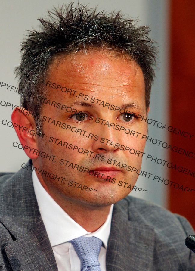 Serbian national football team head coach Sinisa Mihajlovic at press conference after signing ceremony in Stara Pazova, Serbia, Monday,  May 21, 2012. (credit & photo: Pedja Milosavljevic / +381 64 1260 959 / thepedja@gmail.com)