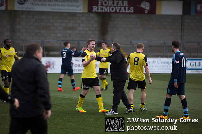 Forfar Athletic 1 Edinburgh City 2, 02/02/2017. Station Park, SPFL League 2. Visiting manager Gary Jardine congratulates winning goal scorer Lewis Allan on the pitch at Station Park, Forfar after the SPFL League 2 fixture between Forfar Athletic and Edinburgh City. It was the club's sixth and final meeting of City's inaugural season since promotion from the Lowland League the previous season. City came from behind to win this match 2-1, watched by a crowd of 446. Photo by Colin McPherson.