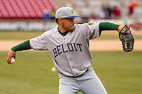 Beloit Snappers pitcher Angel Duno (28) warms up prior to a Midwest League game against the Wisconsin Timber Rattlers on April 10th, 2016 at Fox Cities Stadium in Appleton, Wisconsin.  Wisconsin defeated Beloit  4-2. (Brad Krause/Four Seam Images)