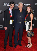 Actor Michael Douglas with children Dylan &amp; Carys at the world premiere of &quot;Rogue One: A Star Wars Story&quot; at The Pantages Theatre, Hollywood. <br /> December 10, 2016<br /> Picture: Paul Smith/Featureflash/SilverHub 0208 004 5359/ 07711 972644 Editors@silverhubmedia.com