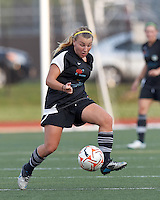 New England Mutiny midfielder Riley Houle (2) traps the ball. In a Women's Premier Soccer League Elite (WPSL) match, the Boston Breakers defeated New England Mutiny, 4-2, at Dilboy Stadium on June 20, 2012.