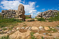 Photo of the Hittite releif sculpture on the Sphinx  gate to the Hittite capital Hattusa