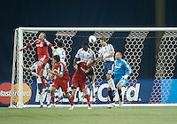 07 March 2012: LA Galaxy forward Mike Magee #18 tries to clear a ball from in front of the goal during a CONCACAF Champions League game between the LA Galaxy and Toronto FC at the Rogers Centre in Toronto..The game ended in a 2-2 draw.