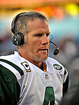 2 November 2008:  New York Jets' quarterback Brett Favre is interviewed after a game against the Buffalo Bills at Ralph Wilson Stadium in Orchard Park, NY. The Jets defeated the Bills 26-17 improving their record to 5 and 3 for the season...Mandatory Photo Credit: Ed Wolfstein Photo