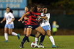 13 November 2015: Liberty's Crystal Elmers (CAN) and North Carolina's Jenny Chiu (95). The University of North Carolina Tar Heels hosted the Liberty University Flames at Fetzer Field in Chapel Hill, NC in a 2015 NCAA Division I Women's Soccer game. UNC won the game 3-0.
