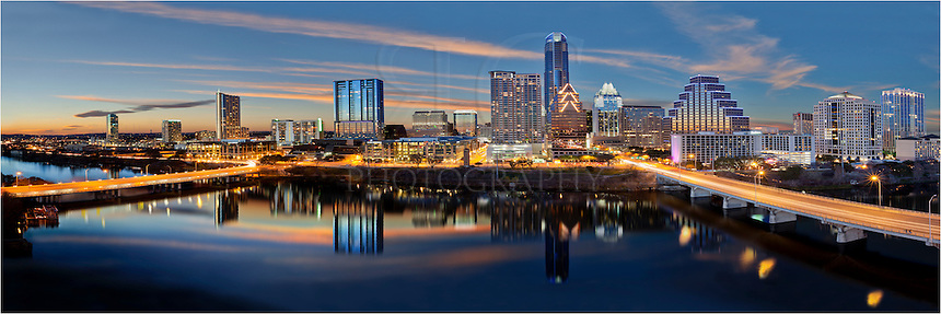 This Austin Skyline image was taken from high above Lady Bird Lake looking across to the architecture of downtown Austin. In this Austin photo, you can see Congress Avenue, the Frost Tower, the 360 Condos, and other Austin Icons.