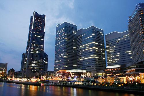 April 12, 2008; Yokohama, Japan - Landmark Tower (left) and Cosmo World...Photo credit: Darrell Miho