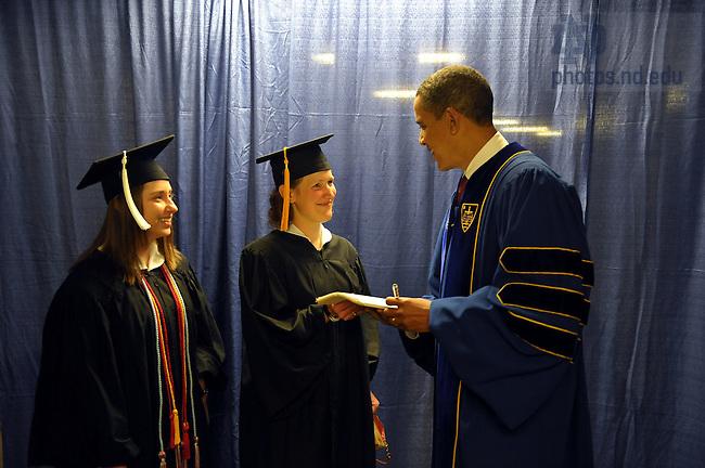 Commencement 2009.  Adrienne Murphy, Brennan Bollman and President Obama..Photo by Matt Cashore/University of Notre Dame