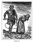 France 1940. (a Nazi slave master pushes along a tattered France amid Nazi propaganda slogans of Freedom, Equality and Brotherhood)