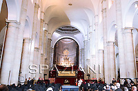 Pope Benedict XVI prays in the Cathedral during the Holy Shroud exhibition in Turin May 2, 2010