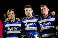Charlie Ewels of Bath Rugby looks on in a post-match huddle. Aviva Premiership match, between Bath Rugby and Newcastle Falcons on March 18, 2016 at the Recreation Ground in Bath, England. Photo by: Patrick Khachfe / Onside Images