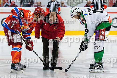 First face off with priest during ice-hockey match between HK Acroni Jesenice and HDD Tilia Olimpija in fourth game of Final at Slovenian National League, on April 8, 2011 at Dvorana Podmezaklja, Jesenice, Slovenia. (Photo By Matic Klansek Velej / Sportida.com)