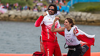 ENGLAND, Weymouth. 7th August 2012. Olympic Games. Women's RS:X Class Medal Race. Zofia Noceti-Klepacka (POL) Bronze Medalist.