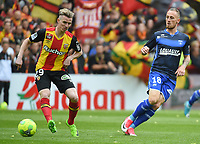 20170415 - LENS , FRANCE : Lens' Benjamin Bourigeaud (L) and Auxerre's Gaetan Courtet (R) pictured during the soccer match between Racing Club de LENS and AJ Auxerre , on the thirty third matchday in the French Dominos pizza Ligue 2 at the Stade Bollaert Delelis stadium , Lens . Saturday 15 April 2017 . PHOTO DIRK VUYLSTEKE | SPORTPIX.BE