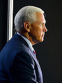 Governor Mike Pence (Republican of Indiana) sits for a series of interviews prior to the start of the last session of the 2016 Republican National Convention held at the Quicken Loans Arena in Cleveland, Ohio on Thursday, July 21, 2016.<br /> Credit: Ron Sachs / CNP<br /> (RESTRICTION: NO New York or New Jersey Newspapers or newspapers within a 75 mile radius of New York City)
