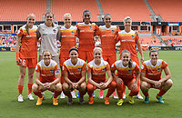 Houston, TX - Saturday April 15, 2017: Houston Dash Starting XI during a regular season National Women's Soccer League (NWSL) match between the Houston Dash and the Chicago Red Stars at BBVA Compass Stadium.