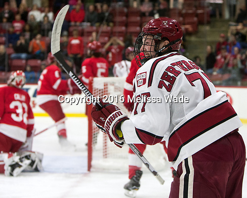 Lewis Zerter-Gossage (Harvard - 77) - The Harvard University Crimson defeated the visiting Cornell University Big Red on Saturday, November 5, 2016, at the Bright-Landry Hockey Center in Boston, Massachusetts.