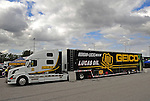 Jan. 17, 2012; Jupiter, FL, USA: The car hauler for NHRA top fuel dragster driver Morgan Lucas during testing at the PRO Winter Warmup at Palm Beach International Raceway. Mandatory Credit: Mark J. Rebilas-