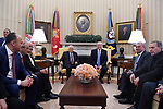 US President Donald Trump meets with Palestinian President Mahmoud Abbas in the Oval Office of the White House on May 3, 2017 in Washington, DC. Photo by Thaer Ganaim
