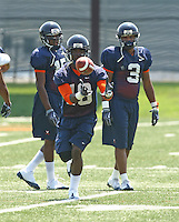 Virginia's Quintin Hunter during open spring practice for the Virginia Cavaliers football team August 7, 2009 at the University of Virginia in Charlottesville, VA. Photo/Andrew Shurtleff