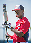 16 March 2014: Washington Nationals outfielder Eury Perez awaits his turn in the batting cage prior to a Spring Training Game against the Detroit Tigers at Space Coast Stadium in Viera, Florida. The Tigers edged out the Nationals 2-1 in Grapefruit League play. Mandatory Credit: Ed Wolfstein Photo *** RAW (NEF) Image File Available ***