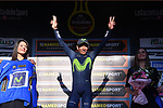 Race leader Nairo Quintana (COL) Movistar Team retains the Maglia Azzura at the end of Stage 5 of the 2017 Tirreno Adriatico running 210km from Rieti to Fermo, Italy. 12th March 2017.<br /> Picture: La Presse/Gian Mattia D'Alberto | Cyclefile<br /> <br /> <br /> All photos usage must carry mandatory copyright credit (&copy; Cyclefile | La Presse)