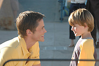 "Actors Rob Lowe, 46, and Shane Roney, 6, film a scene for an independent movie entitled ""I Melt With You"" at the Santa Monica Pier on Friday, September 3, 2010. The movie is a  thriller about middle-aged guys dealing with their problems. Lowe plays a doctor struggling with deep personal loss and a growing drug addiction."