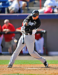 2 March 2011: Florida Marlins outfielder Scott Cousins in action during a Spring Training game against the Washington Nationals at Space Coast Stadium in Viera, Florida. The Nationals defeated the Marlins 8-4 in Grapefruit League action. Mandatory Credit: Ed Wolfstein Photo