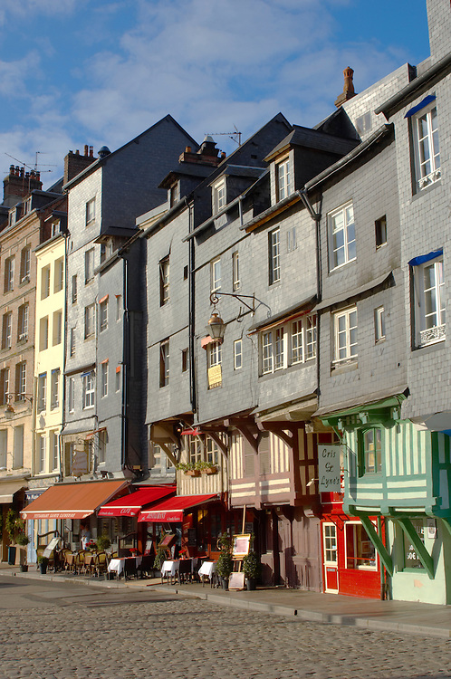 Harbour Side Restaurants and Bistro's. Honfleur, Normandy, France.