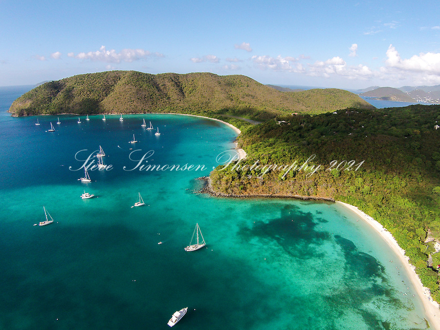 Aerial view of Maho and Francis Bays<br />
