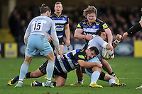George Pisi of Northampton Saints is tackled by Rob Webber and Nick Auterac of Bath Rugby. Aviva Premiership match, between Bath Rugby and Northampton Saints on December 5, 2015 at the Recreation Ground in Bath, England. Photo by: Patrick Khachfe / Onside Images