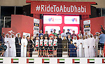 The final podium at the end of Stage 4 Yas Island Stage of the 2017 Abu Dhabi Tour, 143km with 26 laps of 5.5km of the Yas Marina Circuit, Abu Dhabi. 26th February 2017.<br /> Picture: ANSA/Claudio Peri | Newsfile<br /> <br /> <br /> All photos usage must carry mandatory copyright credit (&copy; Newsfile | ANSA)