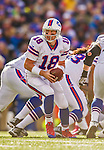 19 October 2014: Buffalo Bills quarterback Kyle Orton looks to make a hand-off in the fourth quarter against the Minnesota Vikings at Ralph Wilson Stadium in Orchard Park, NY. The Bills defeated the Vikings 17-16 in a dramatic, last minute, comeback touchdown drive. Mandatory Credit: Ed Wolfstein Photo *** RAW (NEF) Image File Available ***