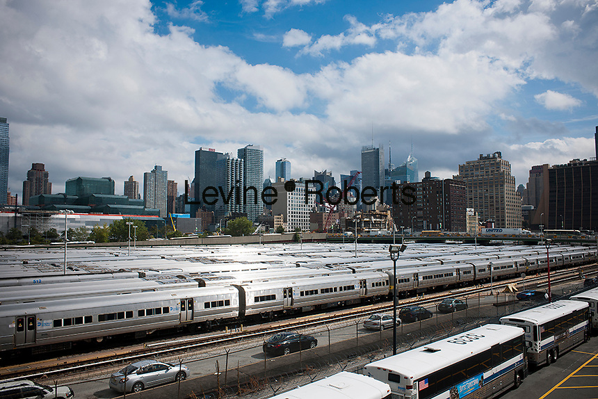 Long Island Railroad trains on layups in the Hudson Yards west in New York between 11th and 12th avenues on Thursday, September 20, 2012. (© Richard B. Levine)