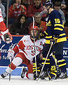 David Warsofsky (BU - 5), Chris Barton (Merrimack - 23), Jesse Todd (Merrimack - 16) - The visiting Merrimack College Warriors tied the Boston University Terriers 1-1 on Friday, November 12, 2010, at Agganis Arena in Boston, Massachusetts.
