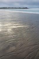 Sandy intertidal zone of beach on coastal Katmai National Park, Alaska Peninsula, southwest Alaska.