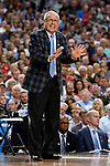 GLENDALE, AZ - APRIL 03: Head coach Roy Williams of the North Carolina Tar Heels reacts to gameplay during the 2017 NCAA Men's Final Four National Championship game against the Gonzaga Bulldogs at University of Phoenix Stadium on April 3, 2017 in Glendale, Arizona.  (Photo by Jamie Schwaberow/NCAA Photos via Getty Images)