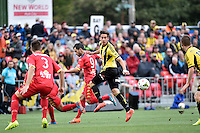 Alex Gorrin in action during the A League - Wellington Phoenix v Adelaide United at Hutt Recreational Ground, Lower Hutt, New Zealand on Saturday 7 March 2015. <br /> Photo by Masanori Udagawa. <br /> www.photowellington.photoshelter.com.