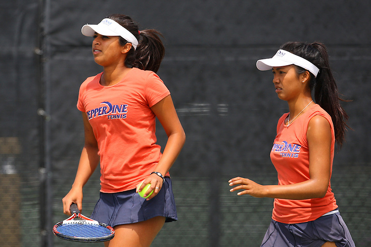 April 21, 2011; San Diego, CA, USA; Pepperdine Waves doubles Marie Zalameda during the first round of the WCC Tennis Championships at the Barnes Tennis Center.
