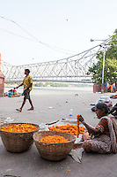 On the Banks of the Ganges River near the Howrah Bridge at Calcutta (Kolkata) in West Bengal in India.