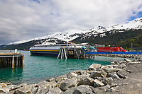 Marine highway ferry Chenega at the dock in coastal town of Whittier, Alaska.