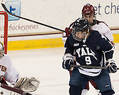 Colin Sullivan (BC - 2), Carson Cooper (Yale - 9) - The Boston College Eagles tied the visiting Yale University Bulldogs 3-3 on Friday, January 4, 2013, at Kelley Rink in Conte Forum in Chestnut Hill, Massachusetts.