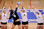 03 DEC 2011:  Kayla Koenecke (3), Katie Habeck (8) and Ashley Murtha (7) of Concordia University St. Paul jump for a block against Samantha Middleborn (8) of Cal State San Bernardino during the Division II Women's Volleyball Championship held at Coussoulis Arena on the Cal State San Bernardino campus in San Bernardino, Ca. Concordia St. Paul defeated Cal State San Bernardino 3-0 to win the national title. Matt Brown/ NCAA Photos
