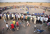 Evening volleyball match between Akoc and Turalai at the Twic Olympics in Wunrok, Southern Sudan.
