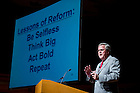 September 26, 2011; Jeb Bush, Florida's former governor and founder of the Foundation for Excellence in Education speaks at Leighton Concert Hall as part of the 2011-2011 Notre Dame Forum. Photo by Barbara Johnston/University of Notre Dame