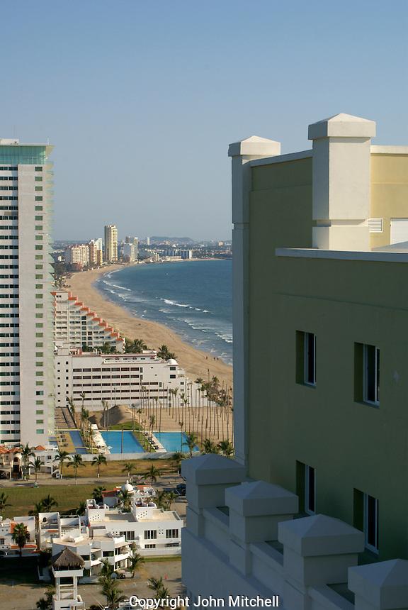 Hotels and Playa Bruja beach in Nuevo  Mazatlan, Sinaloa, Mexico