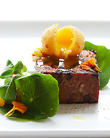 Grilled Pate de campagne.  Grilled pate de campagne with a crispy, crunchy fried egg yolk that cracks and spills out everywhere, and then the bright, pickled chow chow, which is pickled cabbage and peppers.