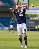 Agonisingly close for Josh Wright, Millwall FC - Millwall vs Blackpool - NPower Championship Football at the New Den, London - 18/08/12 - MANDATORY CREDIT: Ray Lawrence/TGSPHOTO - Self billing applies where appropriate - 0845 094 6026 - contact@tgsphoto.co.uk - NO UNPAID USE.